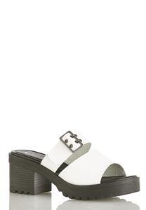 Buckle Band White Lug Sandals