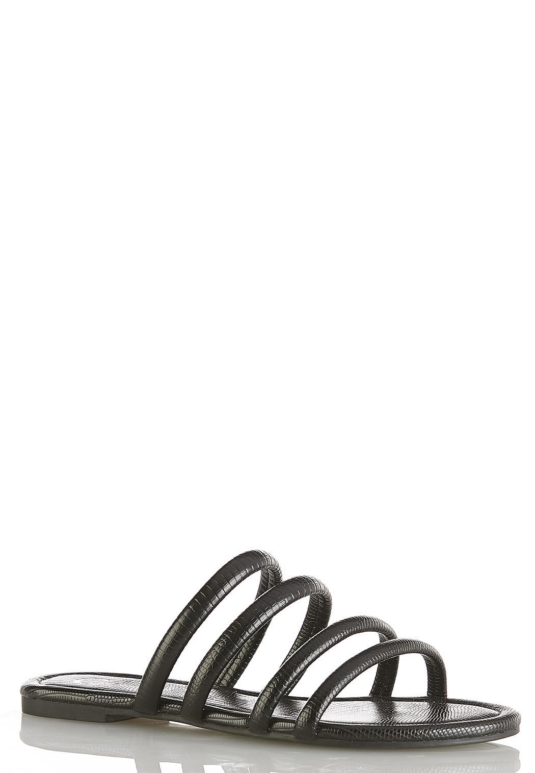 Tube Strap Black Snake Sandals