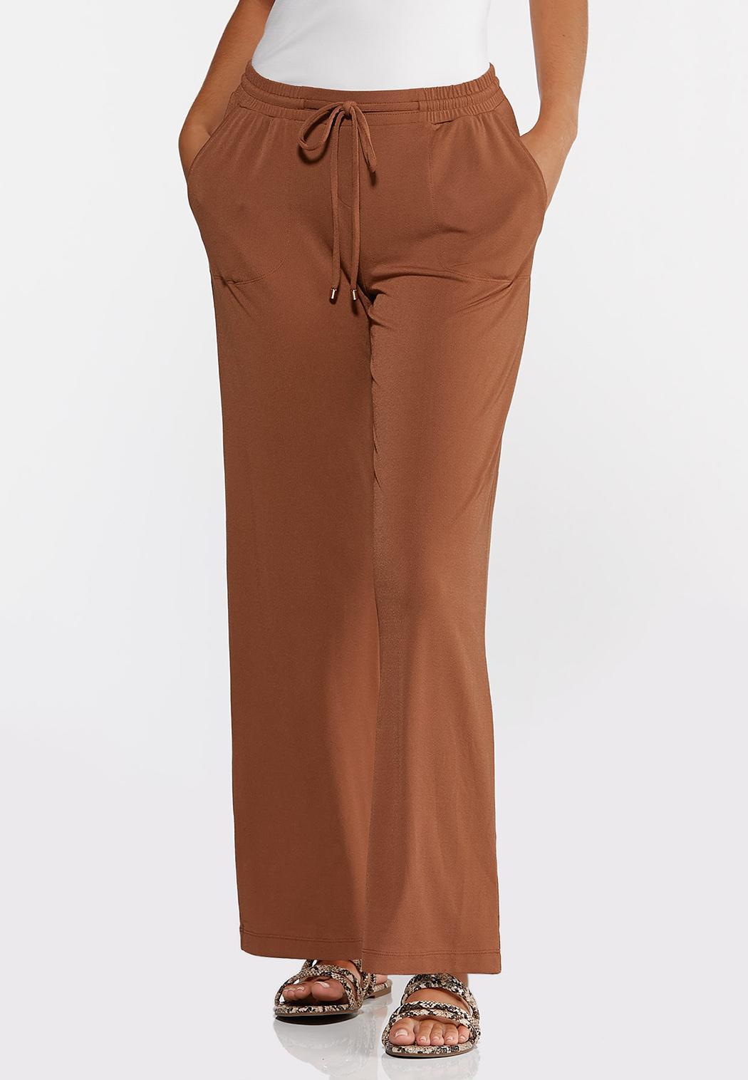 Petite Solid Wide Leg Pants