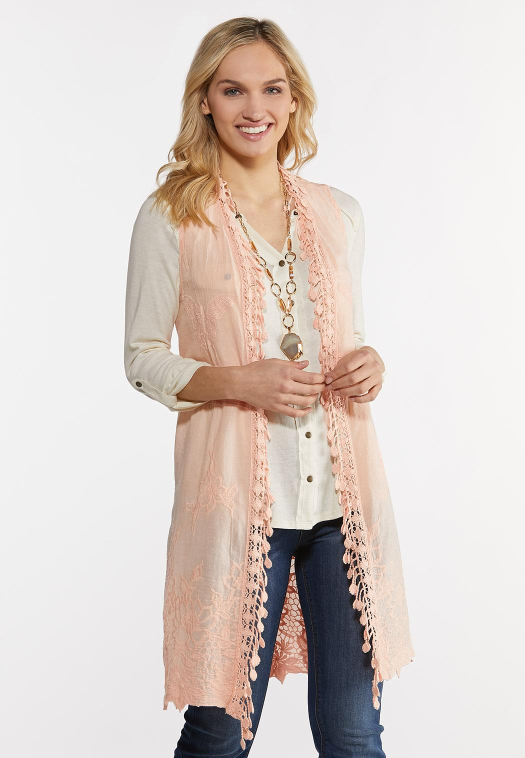 Plus Size Embroidered Blush Vest