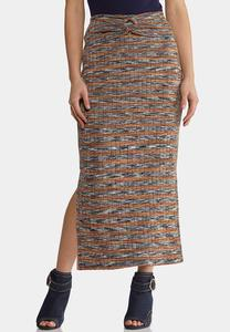 Plus Size Ribbed Midi Pencil Skirt