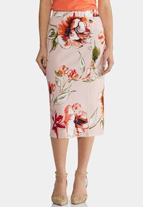 Plus Size Blush Floral Pencil Skirt