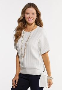 Plus Size White Ribbed Tie Sweater