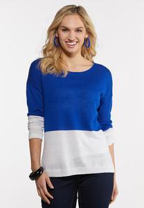 Blue Colorblock Linen Sweater