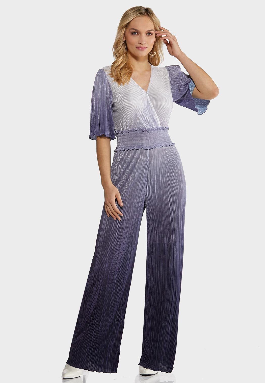 Pleated Ombre Blue Jumpsuit