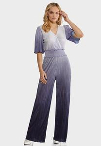 Petite Pleated Ombre Blue Jumpsuit