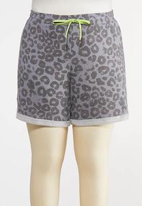 Plus Size Gray Leopard Shorts