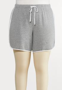 Plus Size Gray Athleisure Shorts