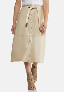 Faux Leather Tie Front Skirt