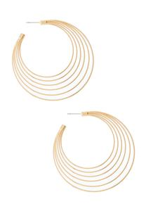Multi Row Gold Hoop Earrings