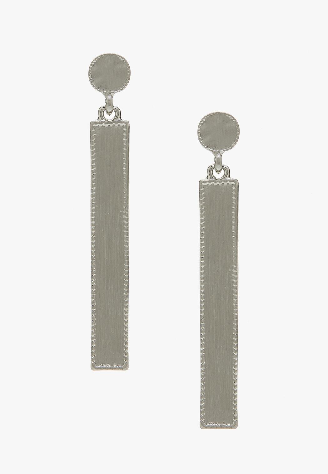 Brushed Metal Bar Earrings