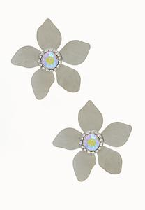 Metal Flower Button Earrings