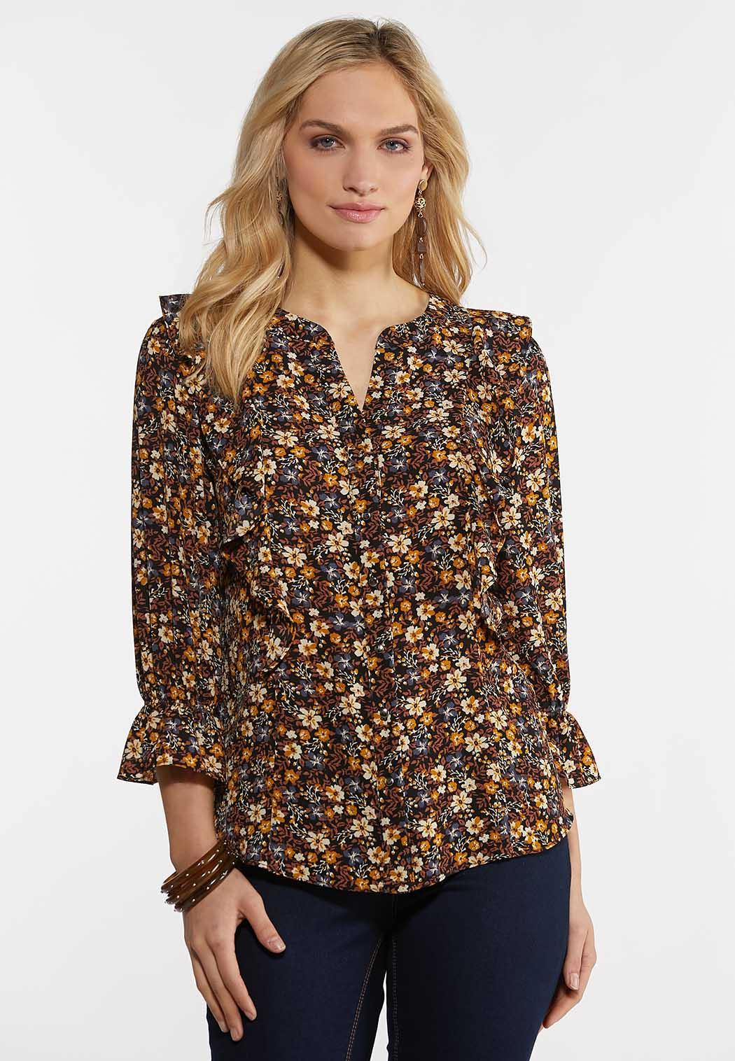 Ruffly Floral Poet Top