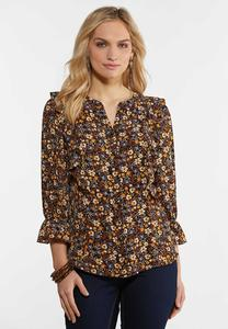 Plus Size Ruffly Floral Poet Top