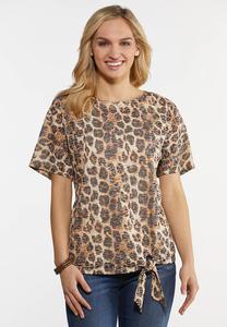 Leopard Burnout Tie Top