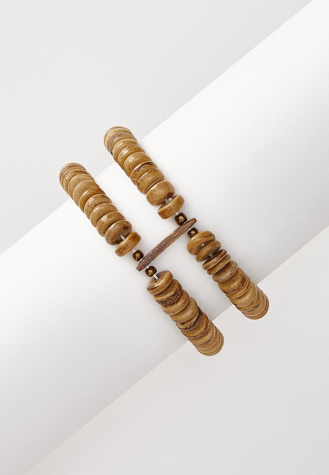 Double Row Wood Stretch Bracelet