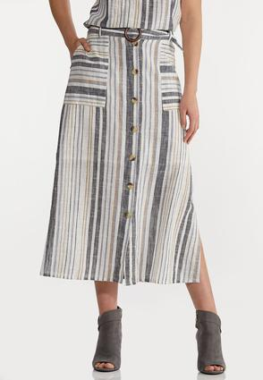 Striped Linen Midi Skirt