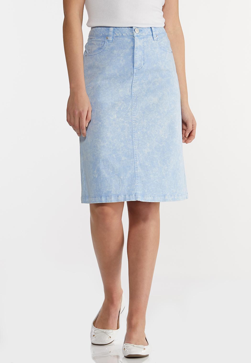 Plus Size Sky Blue Denim Skirt