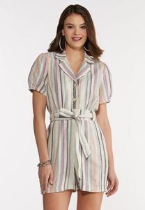 Plus Size Striped Linen Romper