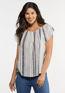 Plus Size Tulip Sleeve Stripe Linen Top