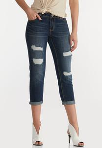 Dark Cropped Distressed Jeans