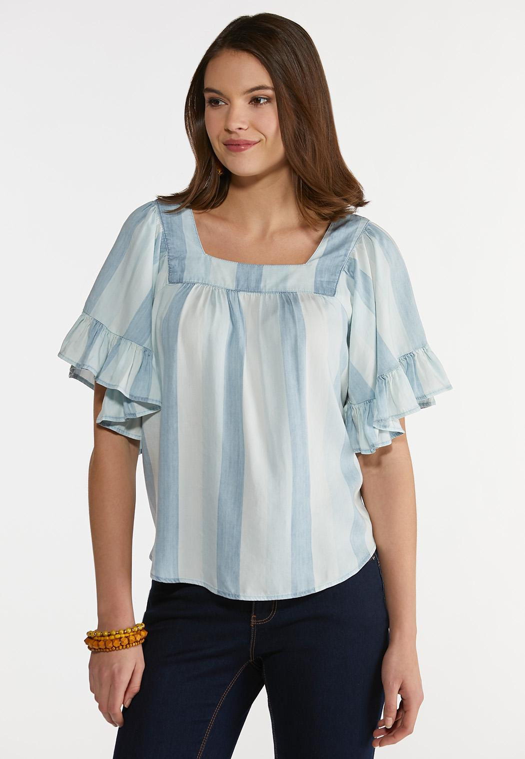 Plus Size Ruffled Square Neck Top