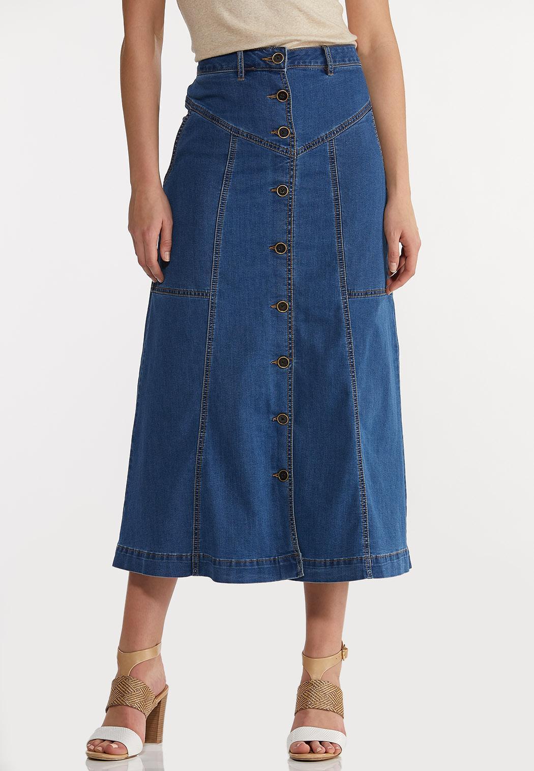 Plus Size Denim Panel Maxi Skirt