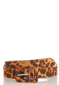Faux Suede Leopard Belt