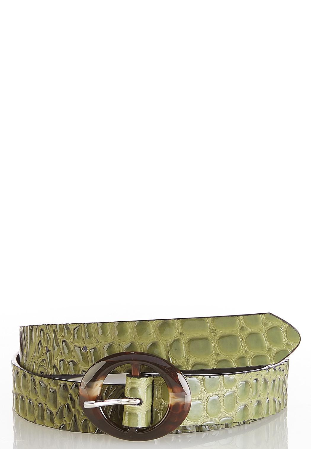 Green Croc Buckle Belt