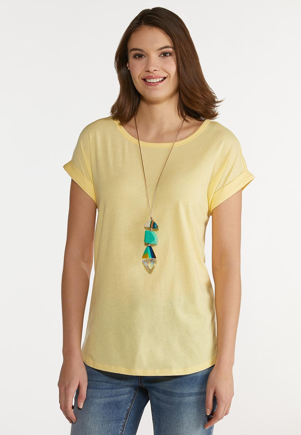 Plus Size Solid Roll Sleeve Tee