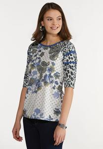 Mixed Leopard Paisley Top