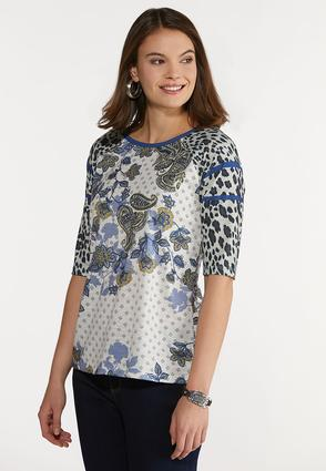 Plus Size Mixed Leopard Paisley Top