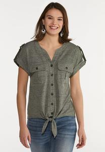 Plus Size Olive Tie Front Top