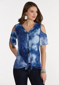 Plus Size Tie Dye Cold Shoulder Top