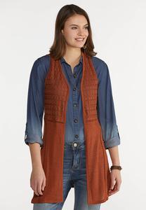 Plus Size Rust Crochet Sweater Vest