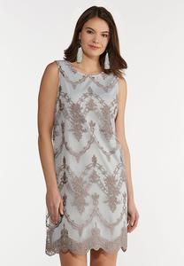 Plus Size Embroidered Vintage Blue Dress