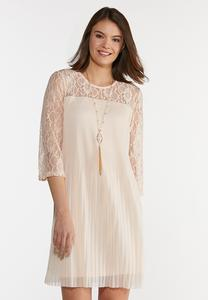 Pleated Lace Sleeve Dress