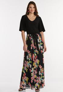 Plus Size Solid Floral Maxi Dress