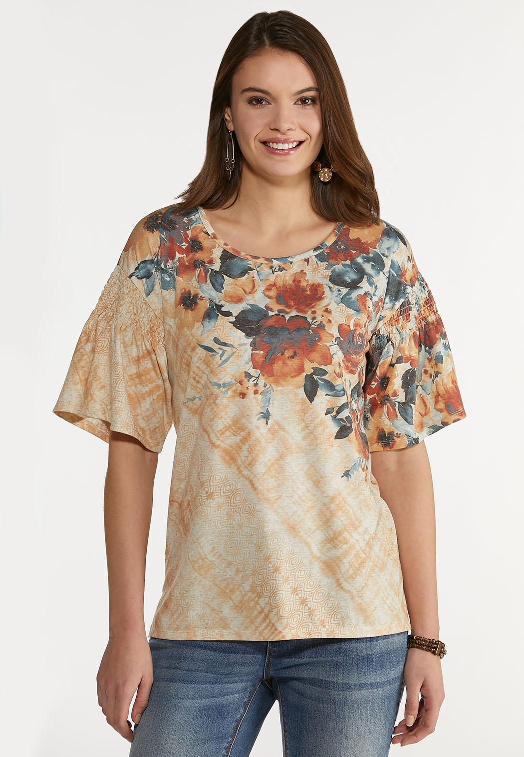 Smocked Rust Floral Top