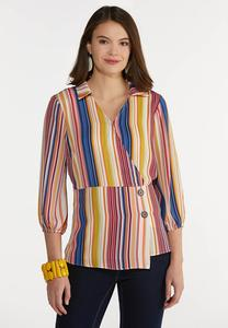 Plus Size Multi Stripe Peplum Top