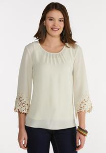 Plus Size Crepe Floral Lace Trimmed Top