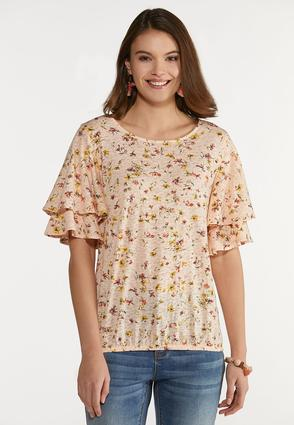 Plus Size In Bloom Ruffled Sleeve Top