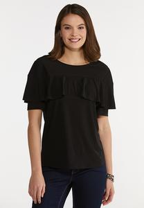 Black Ruffled Tee