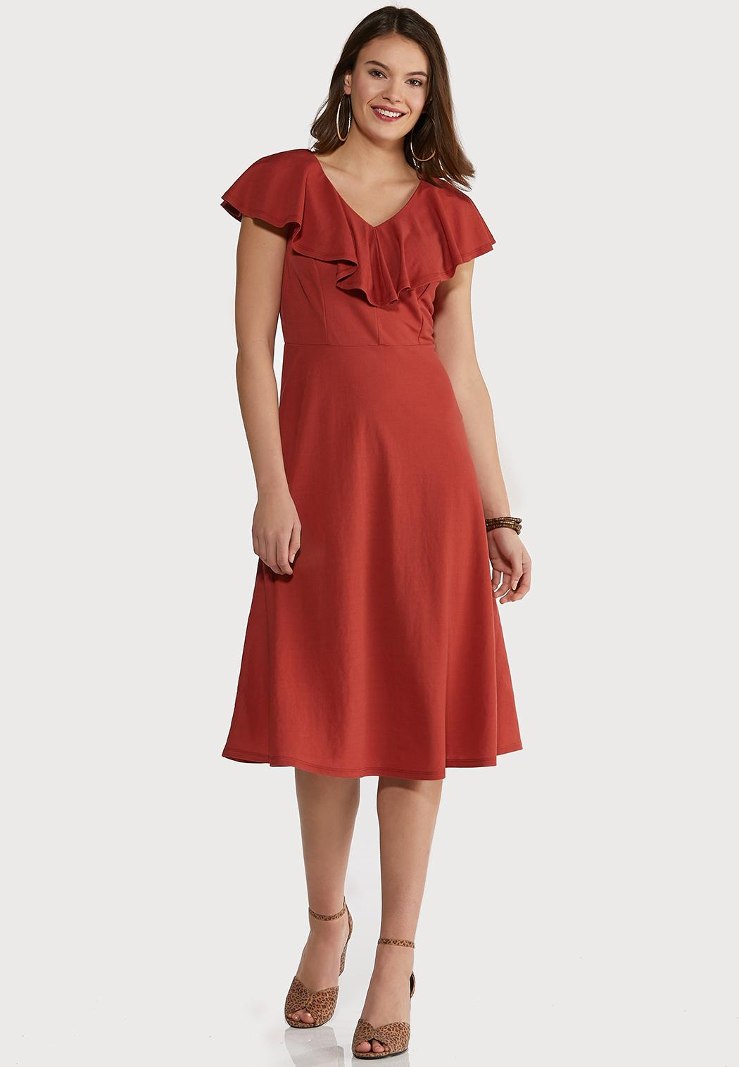 Flounce Collar Midi Dress