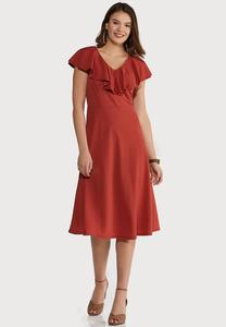 Plus Size Flounce Collar Midi Dress