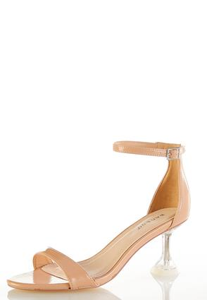 Lucite Heel Ankle Strap Sandals