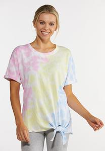 Plus Size Tie Dye Knotted Tee
