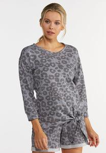 Plus Size Gray Leopard Knotted Top