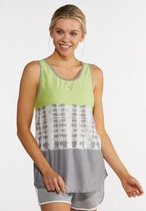 Plus Size Lime Tie Dye Tank