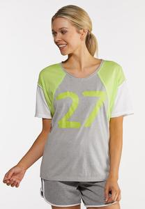 Plus Size Colorblock Number Tee
